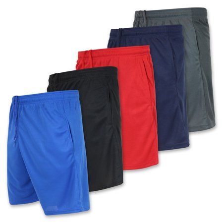 Real Essentials Boys Mesh Performance 5-Pack Shorts with Pockets, Sizes 4-18