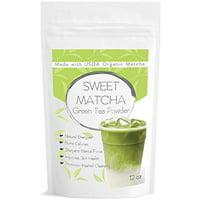 Japanese Sweet Matcha (12oz) Green Tea Powder Mix- Made with 100% Organic Matcha- Perfect for Making Green Tea Latte or Frappe; Vegan, Vegetarian