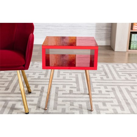 Mirror Nightstand, Mirror End Side Table, Bedside Table with an Open Drawer, Sofa/Chair End Table, Telephone Table with 4 Legs, Modern Simple Small Furniture for Bedroom Living Room, Wine Red, L1016