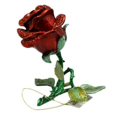 Encrusted Rose - Elegant Red Rhinestone Encrusted Rose Bloom Keepsake Box Figure