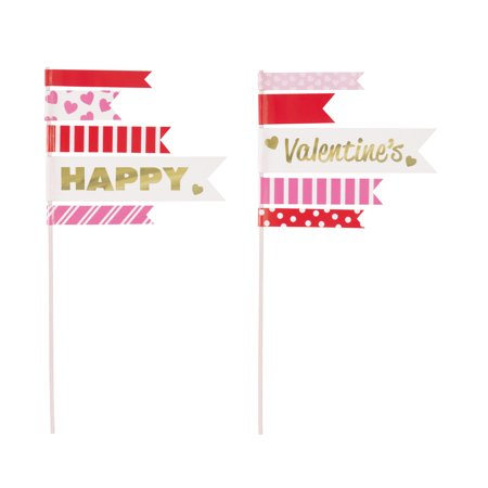 - Pennant Flag Valentine's Day Cake Toppers, 2pc