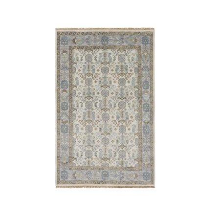 3 75 X 5 75 Ancient Chirography Ocean Green  Wheat  Aero Blue And Asparagus Hand Knotted Area Throw Rug