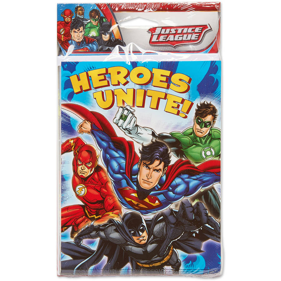 Justice League Invite and Thank-You Combo Pack, 8 Count, Party Supplies