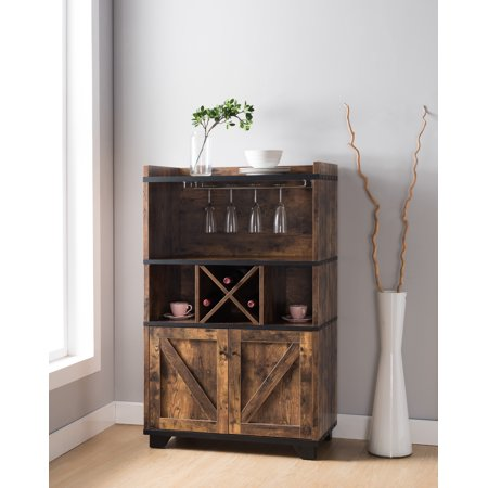 Furniture of America Oliver Modern Farmhouse Distressed Wood Buffet Hutch