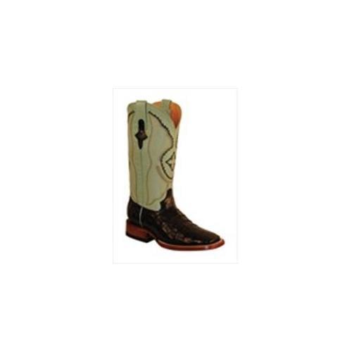 Ferrini 8249304060B Ladies Belly Caiman Square Toe Boots Black 6B by