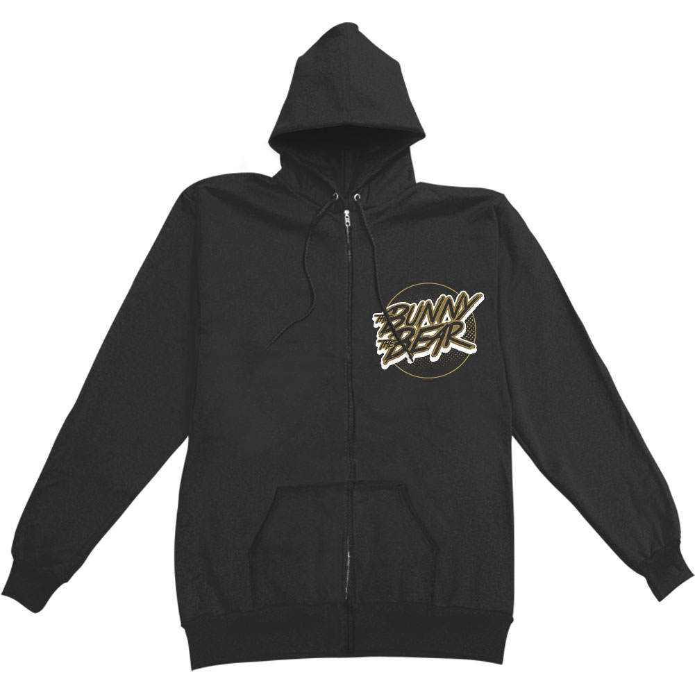 Bunny The Bear Men's  Checkered Food Chain Zippered Hooded Sweatshirt Black