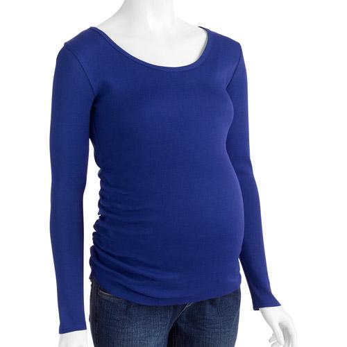 Planet Motherhood Maternity Essential Long Sleeve Tee with Flattering Side Ruching