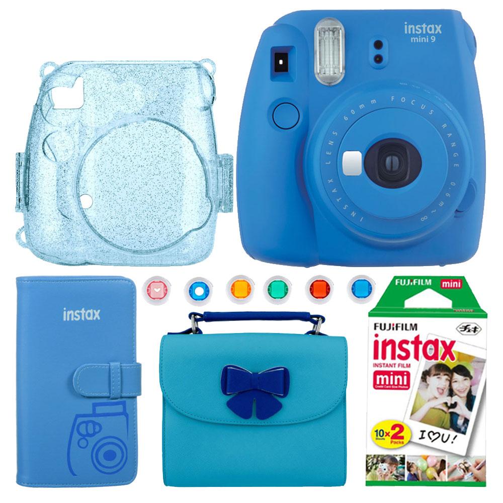 Great Buy! Fujifilm Instax Mini 9 Camera – Cobalt Blue + Blue Glitter Case –Fuji Prints Album + Camera and Accessories Blue Bag + Twin Film Pack – 20 Shots + 6 Close-up Lens Filters – Ideal Gift!