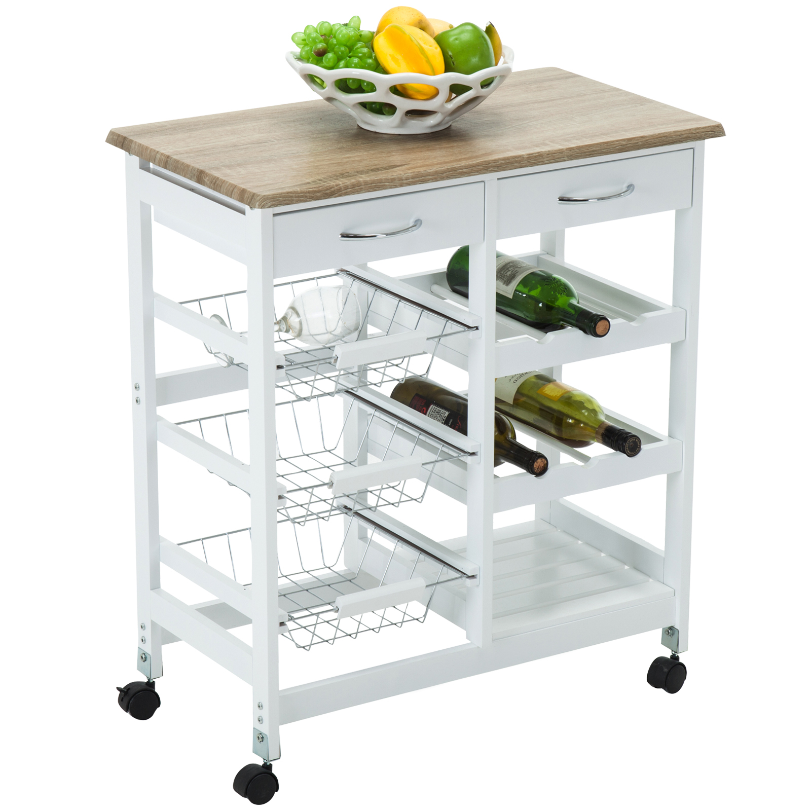 4 Family Kitchen Island Cart Trolley Portable Rolling Storage Table with Draw