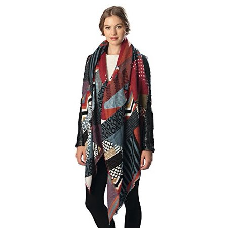 Patchwork Scarf - Sassy Scarves Womens Elegant Patchwork Pattern Style Oblong Scarf (Multi Color)
