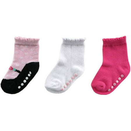 Gripper Baby Socks (Ballet Slipper Crew Socks with Grippers, 3-Pack (Baby Girls))