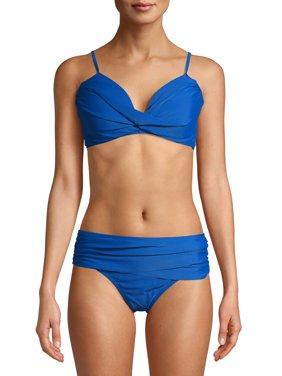 Simply Fit Women's Center Front Twist Swimsuit, 2-Piece Set