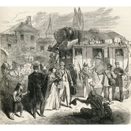 Travelers Waiting To Board A Stagecoach In The 19Th Century From French Pictures By The Rev Samuel G Green Published 1878 Stretched Canvas - Ken Welsh  Design Pics (30 x 26) ()