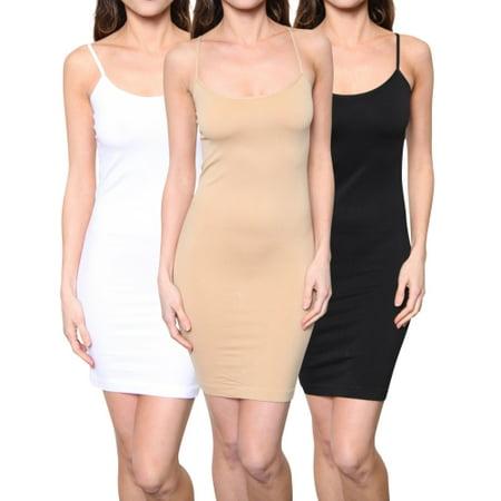 3 Pack: FTL Women's Seamless Spaghetti Strap Slip Dress