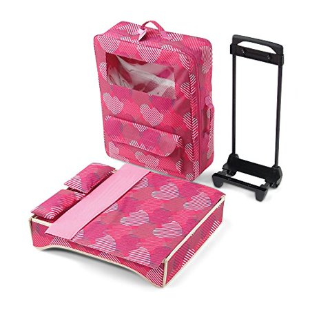 18 Inch Doll Accessories   Amazing Travel 2 Doll Carrier With Window  Includes Trolley  Backpack Straps  Loads Of Storage  And Removable Doll Bed With Bedding   Fits American Girl Dolls