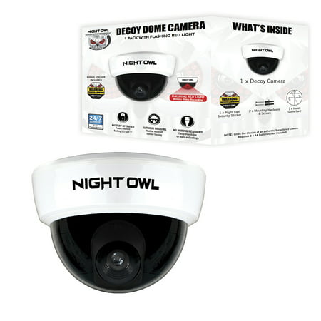 Night Owl Decoy Dome Camera with Flashing LED Deterrent Light - Lcd Dig Camera