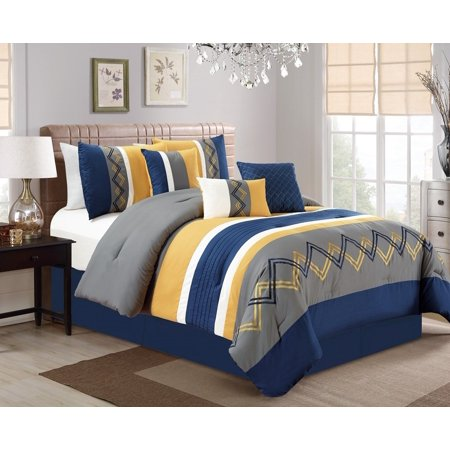 - Chezmoi Collection Arden 7-Piece Modern Pleated Stripe Embroidered Zigzag Comforter Set
