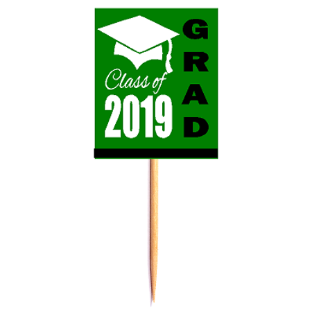 12pack Class of 2019 Green Graduation Party CUpcake Desert Appetizer Food Decoration Picks - Green Graduation