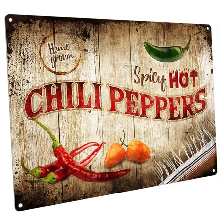 """Spicy Hot Chili Peppers 9""""x12"""" Metal Sign, Wall Decor for Home and Office"""