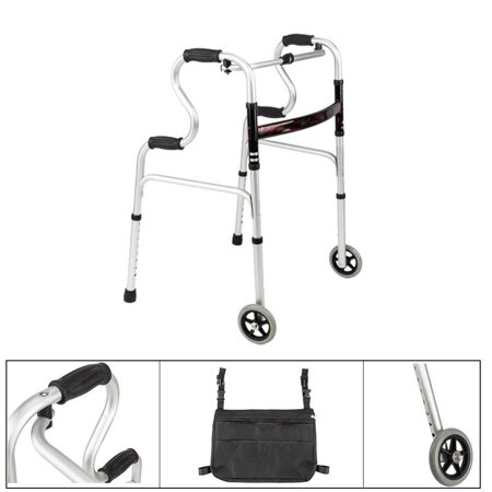Ktaxon Medical Walker Basket for 2 Button Walkers w/ 5 inch Wheel & Pouch Bag