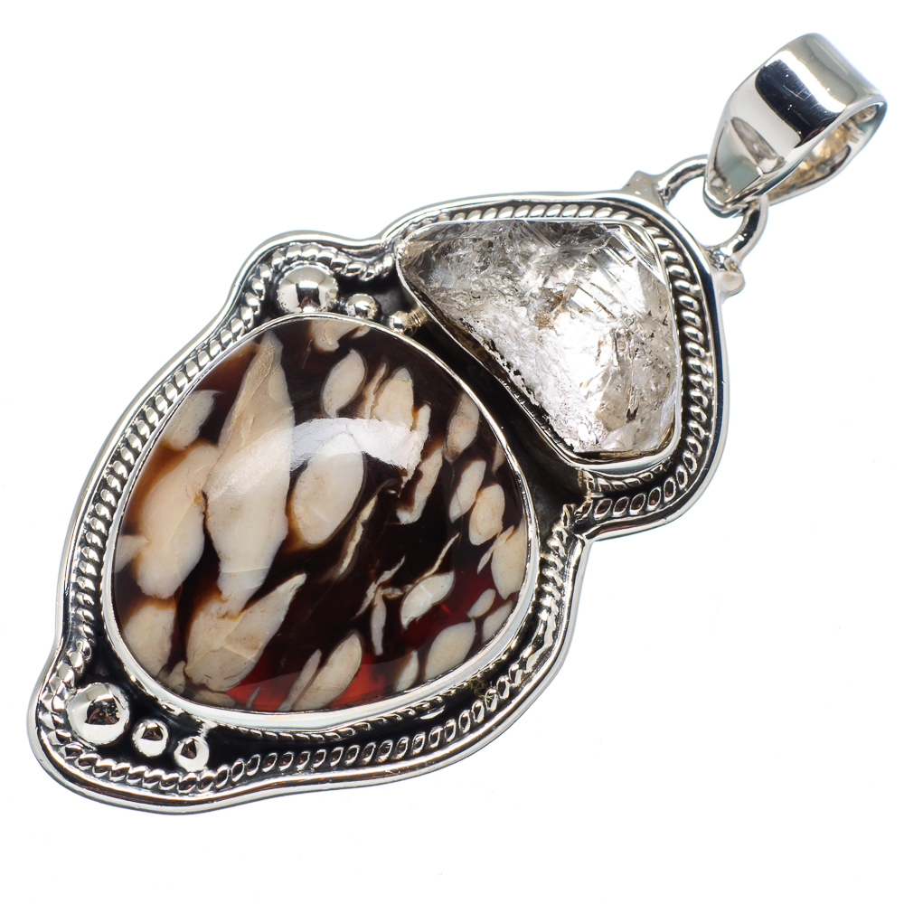 "Ana Silver Co Peanut Wood Jasper, Herkimer Diamond 925 Sterling Silver Pendant 2"" PD596094"
