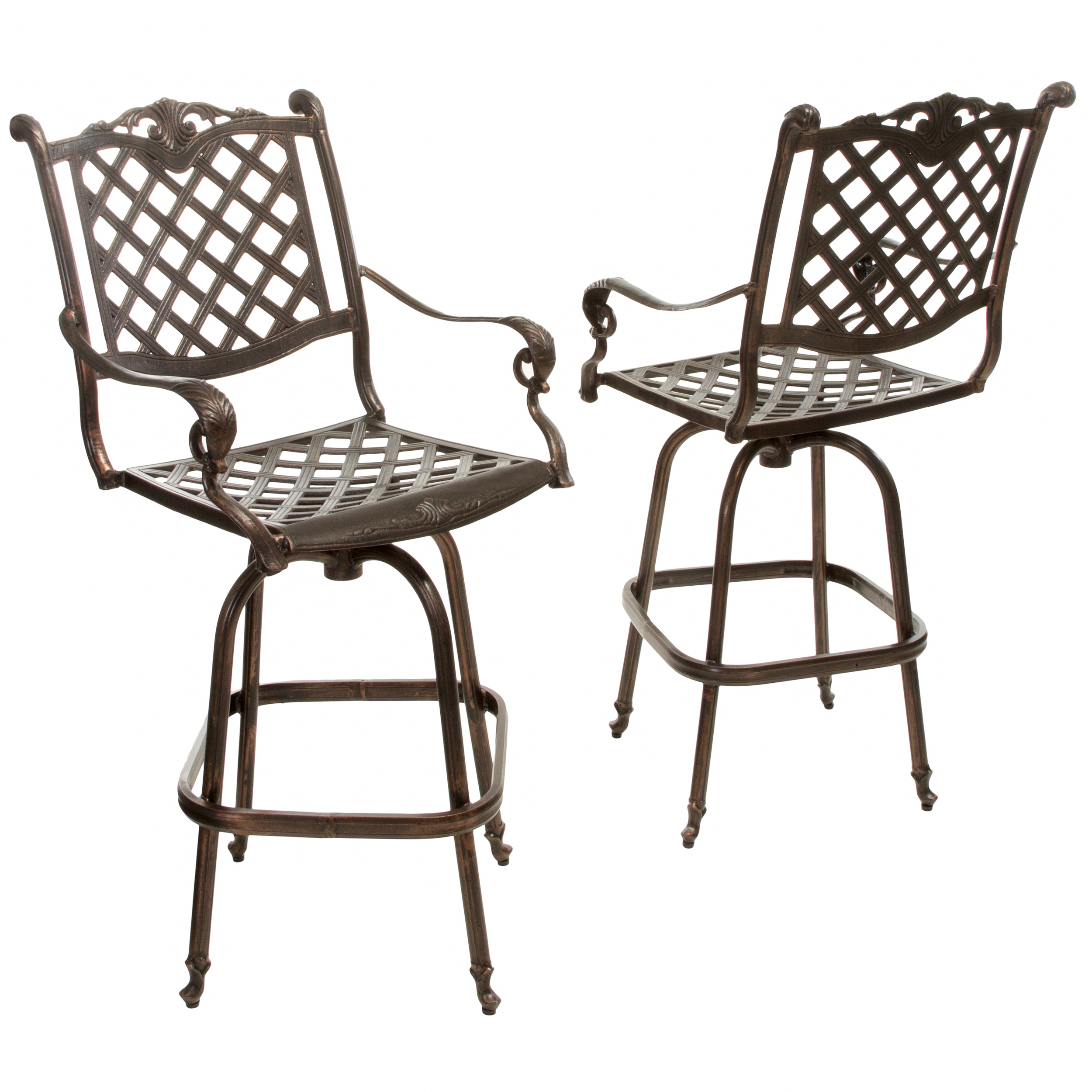 Reed Cast Aluminum Copper Outdoor Bar Stool (Set of 2)