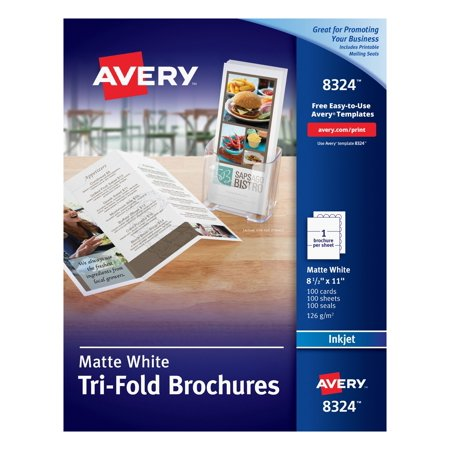 Tri Fold Brochure Printing - Avery(R) Tri-Fold Brochures, Matte, Two-Sided Printing, 8-1/2