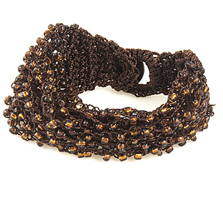 Unique Bargains Weaved String Beads Decor Brown Bracelet Wrist Ornament](Cool String Bracelets)