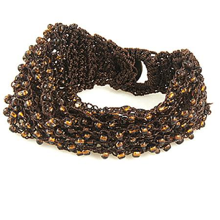 Unique Bargains Weaved String Beads Decor Brown Bracelet Wrist Ornament (Thai Weave Bracelet)