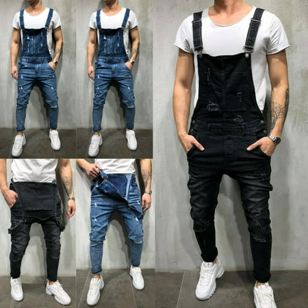 XIAXAIXU Fashion Mens Denim Overalls Suspender Trousers Slim Fit Bib Pants Skinny Jeans