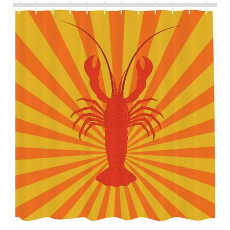 Lobster Shower Curtain Aquatic Animal Figure On Starburst Pattern Illustration Fabric Bathroom Set