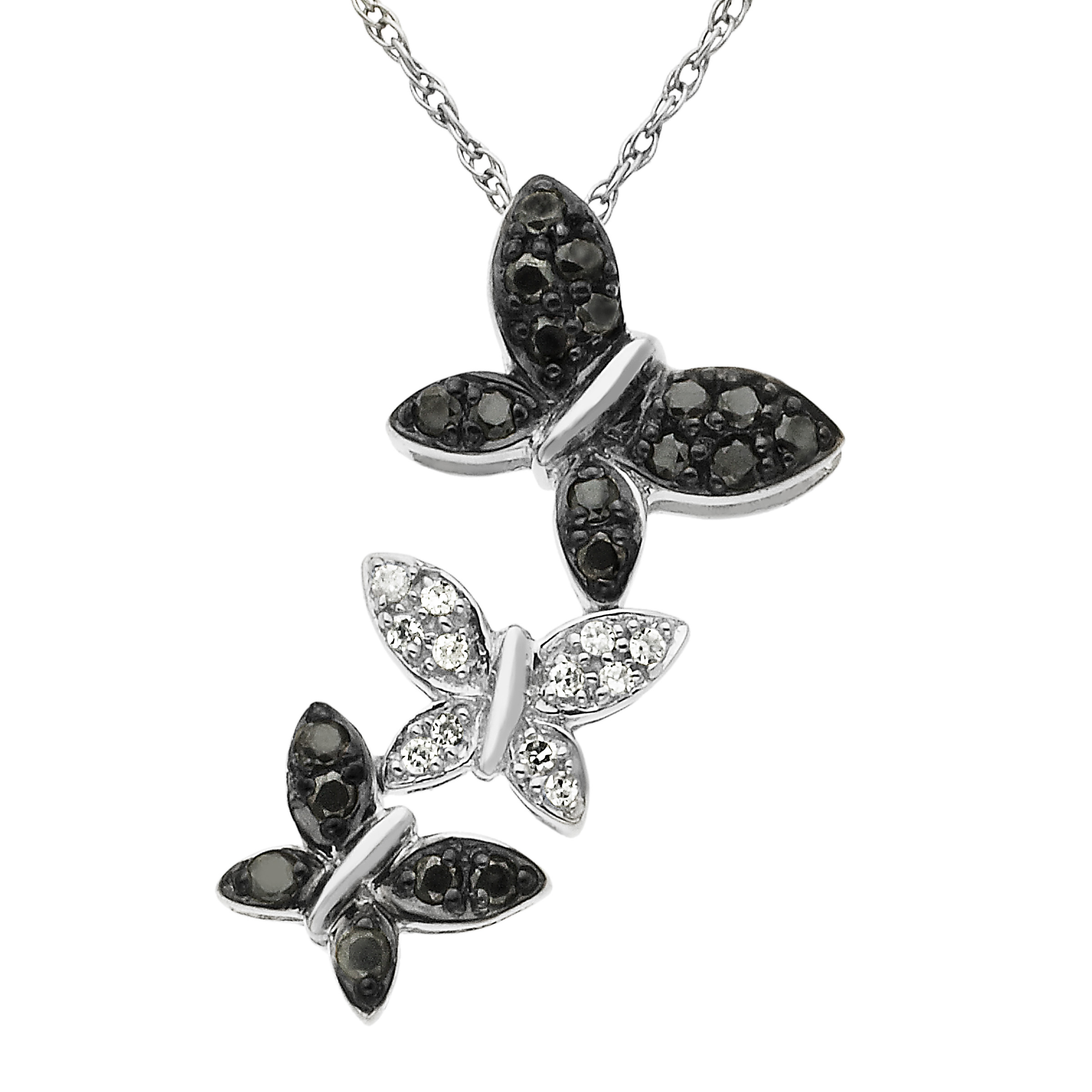 Richline 1/5 ct Black & White Diamond Butterfly Pendant N...