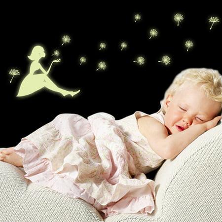Glow In Dark Girl Dandelion Christmas Snowflake Luminous Wall Sticker Decor A