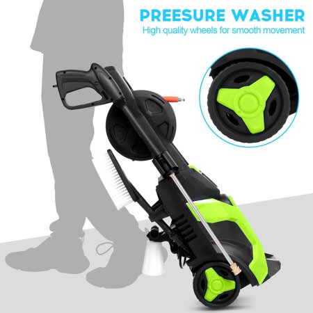 3500 PSI  Power Washer, Homdoxs Pressure Washer 3500 PSI Electric High Pressure Washer Professional Washer Cleaner Machine with 4 Nozzles, Detergent Tank and Hose Reel, 2GPM,1800W(Green)