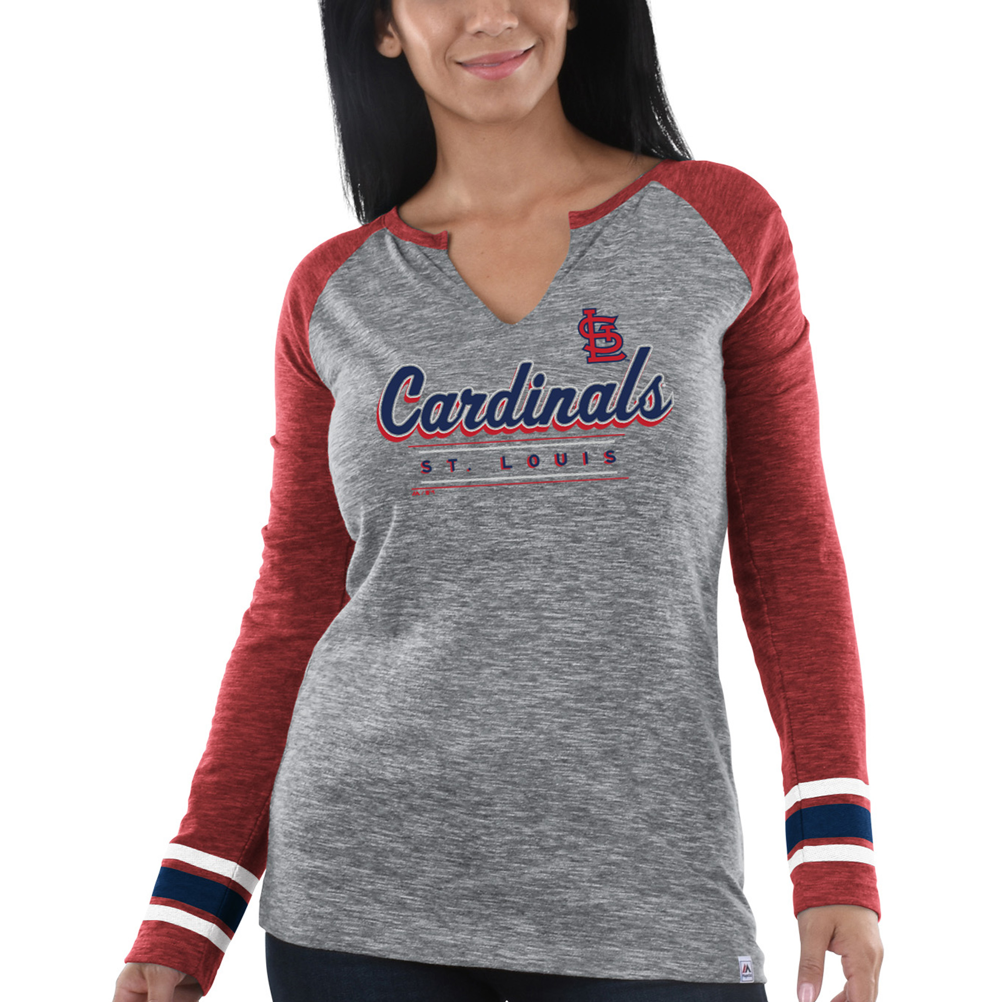 St. Louis Cardinals Majestic Women's Time's Running Out Long Sleeve T-Shirt Heathered Gray Red by MAJESTIC LSG