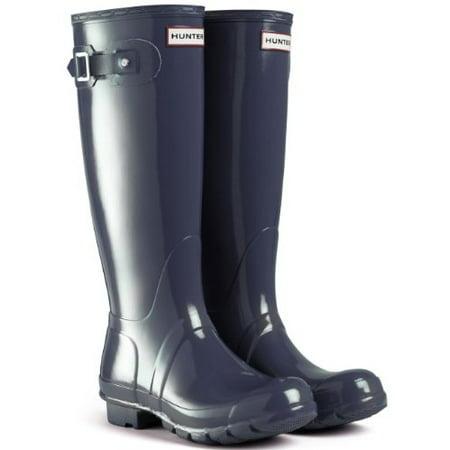 Hunter Original Gloss Tall Navy Womens Wellington Boots Size 4 UK/6