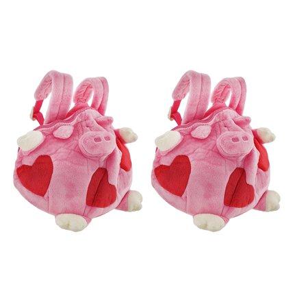 Pair of Happy House Children`s Fat Piggy Plush Mini Backpacks