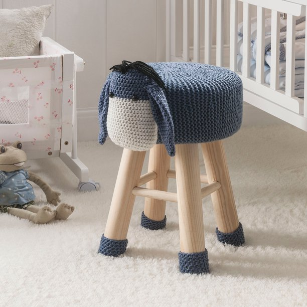 Children's Modern Woven Animal Ottoman Stool with Wooden Legs, Donkey, Gray