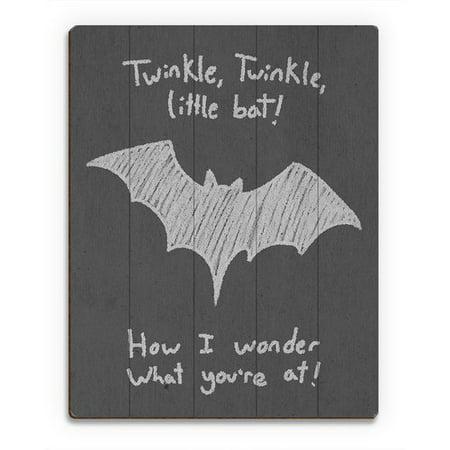 Click Wall Art Wood Slats Le Little Bat Painting Print On Plaque