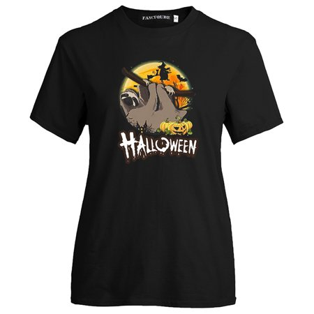 KABOER 2019 New Fashion Casual Halloween Sloth Print Tee Shirt Short Sleeve Round Neck Tops For Men Women