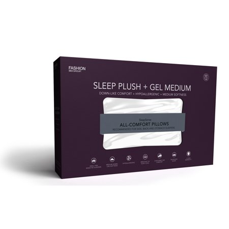 Sleep Plush GelSoft Medium Density Fiber Pillow, Standard / Queen
