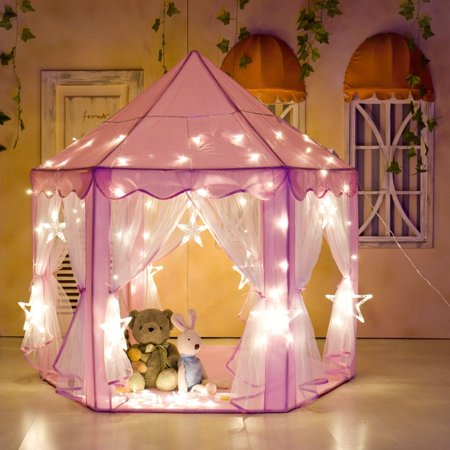 Portable Princess Castle Play House for Child Outdoor / Indoor Kids Children Play Tent for Girls Pink Birthday Gift (LED Lights)