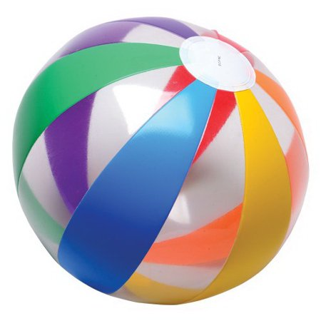 (Price/Dozen)US TOY IN399 Clear Rainbow Ball Inflates - Rainbow Beach Ball