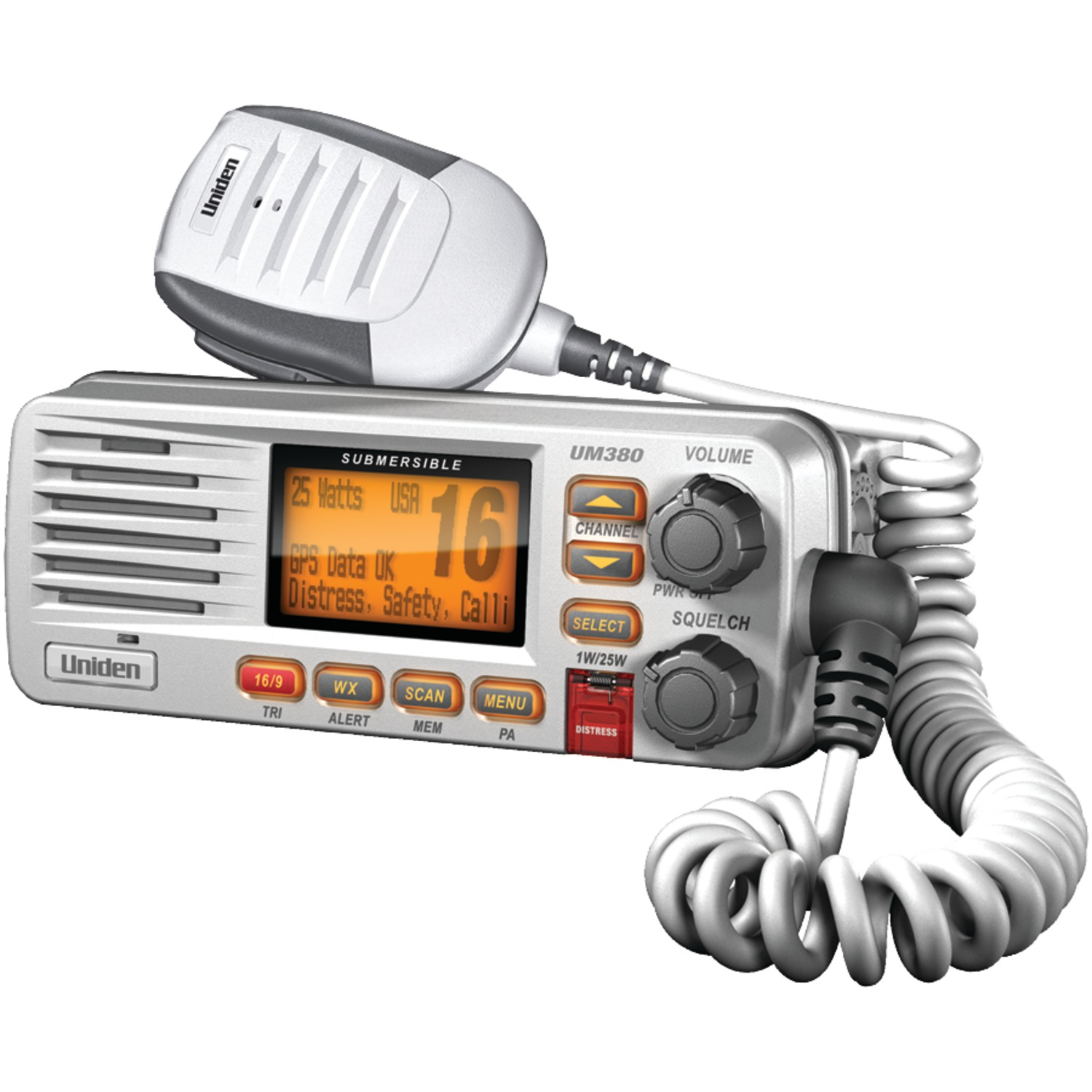 Uniden UM380 Fixed-Mount VHF/2-Way Marine Radio (White)