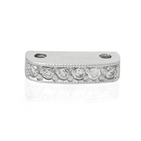 Rounded Rectangle Beads (1 Pc Sterling Silver Clear Rhinestone Rectangle Platinum Plated Spacer Bead)