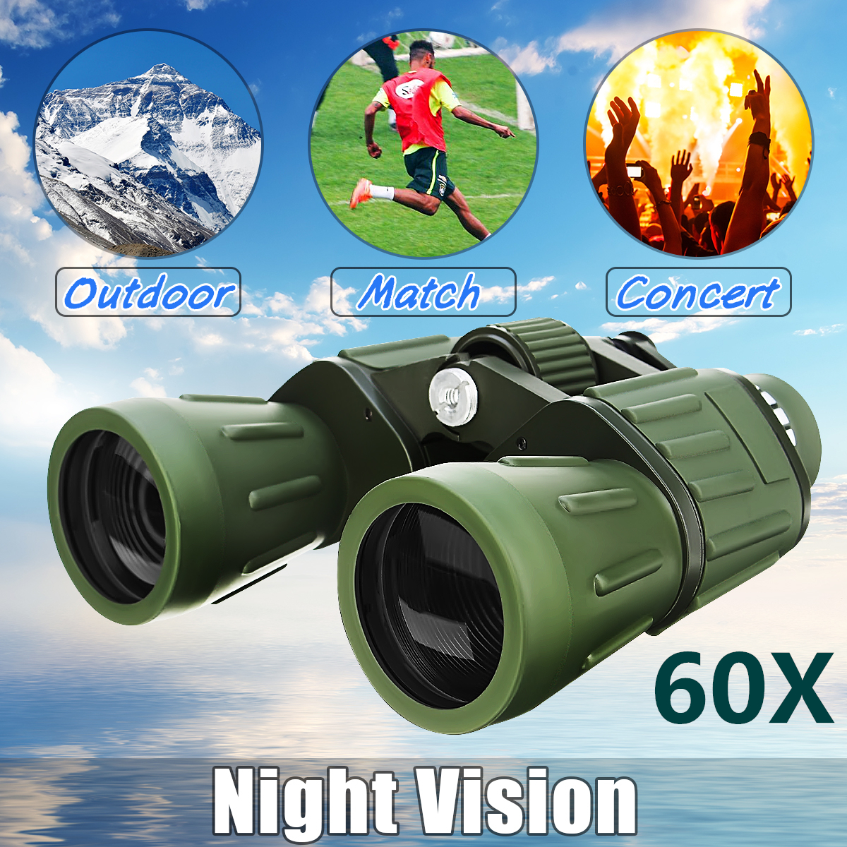 60X Zoom Adjustable High Power HD Binoculars Night Vision Anti UV Military Army Outdoor Hunting Camping Travel Match... by