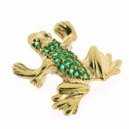 18K Gold over Sterling Silver Green CZ Leaping Frog Pin & Pendant