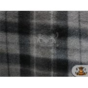 """Fleece Printed Fabric TARTAN CHARCOAL / 58"""" Wide / Sold by the yard S-448"""