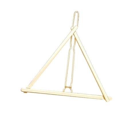Women Simple Hollow Geometric Hairpin Metal Diamond Triangle Round Moon Shape Hair (Round Metal Clips)