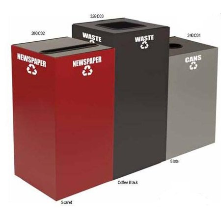 Witt Industries 24GC03-SC Geo cube- square opening- plastic-waste decal- scarlet Witt Industries Square